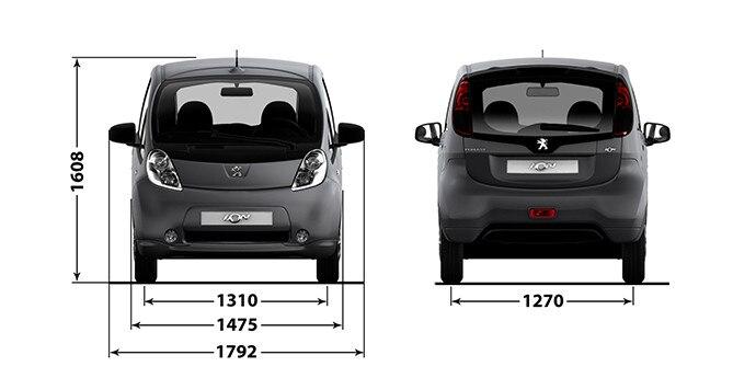 Peugeot iOn - afmetingen breedte hoogte