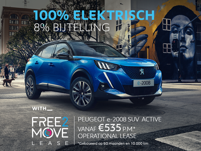 Nieuwe Peugeot e-2008 SUV - 100% elektrisch - With Free2Move Lease