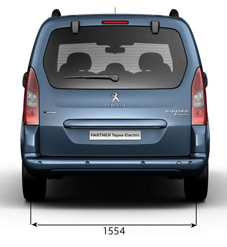 Peugeot Partner Tepee Electric - Afmetingen breedte achterzijde