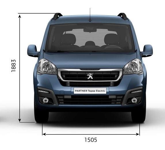 Peugeot Partner Tepee Electric - Afmetingen breedte/hoogte voorzijde