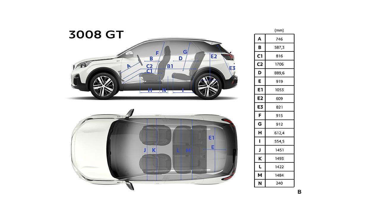 Peugeot 3008 SUV GT - Techniek afmetingen