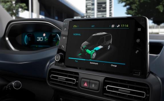 Nieuwe PEUGEOT e-Rifter – Touchscreen met weergave van de energiestromen